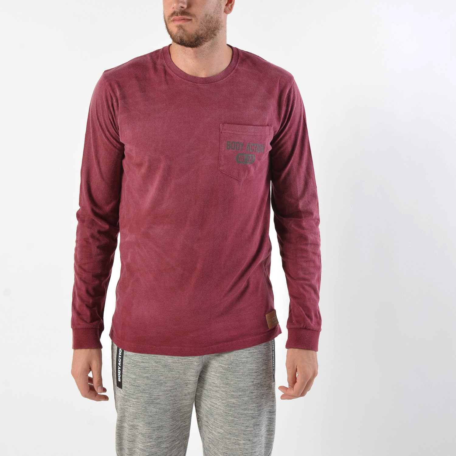 Body Action Men's Washed Long-Sleeve Tee (9000016608_8526)