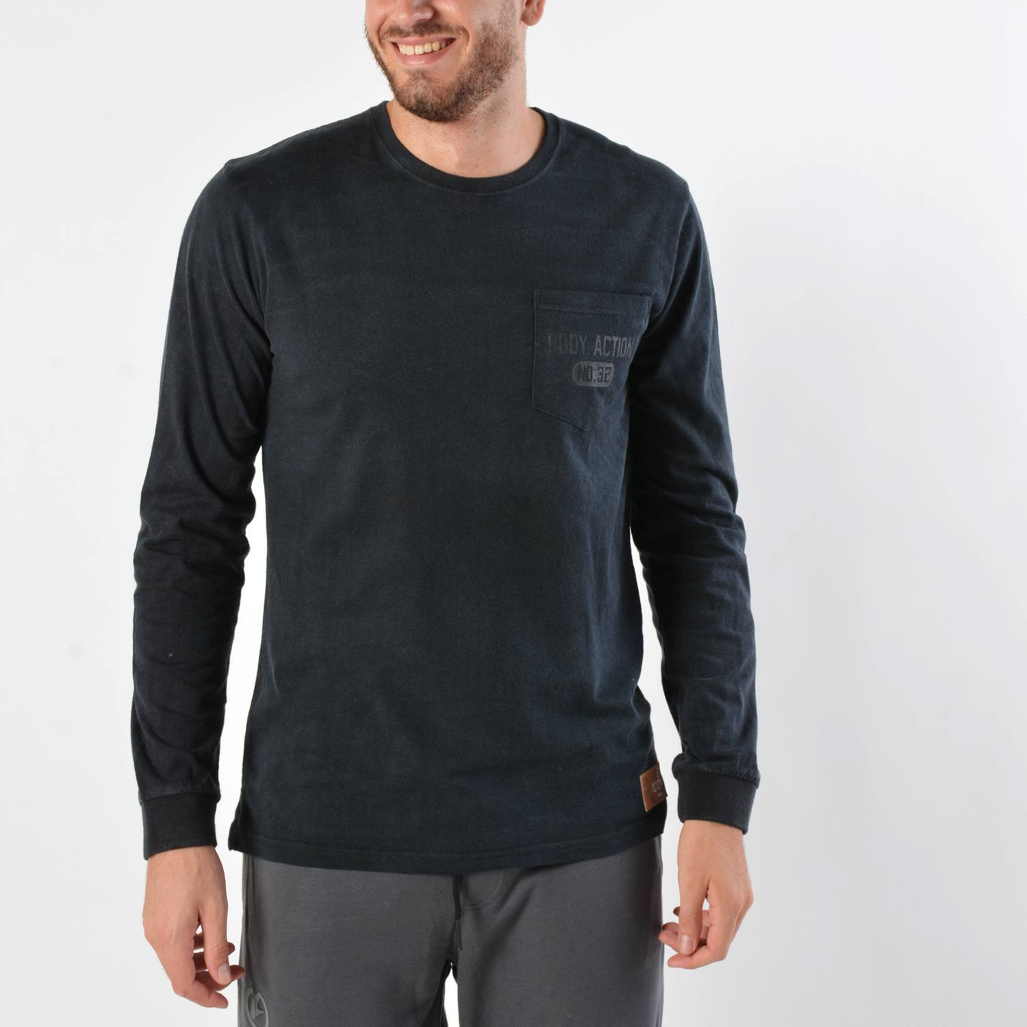 Body Action Men's Washed Long Sleeve Tee (9000016608_1899)