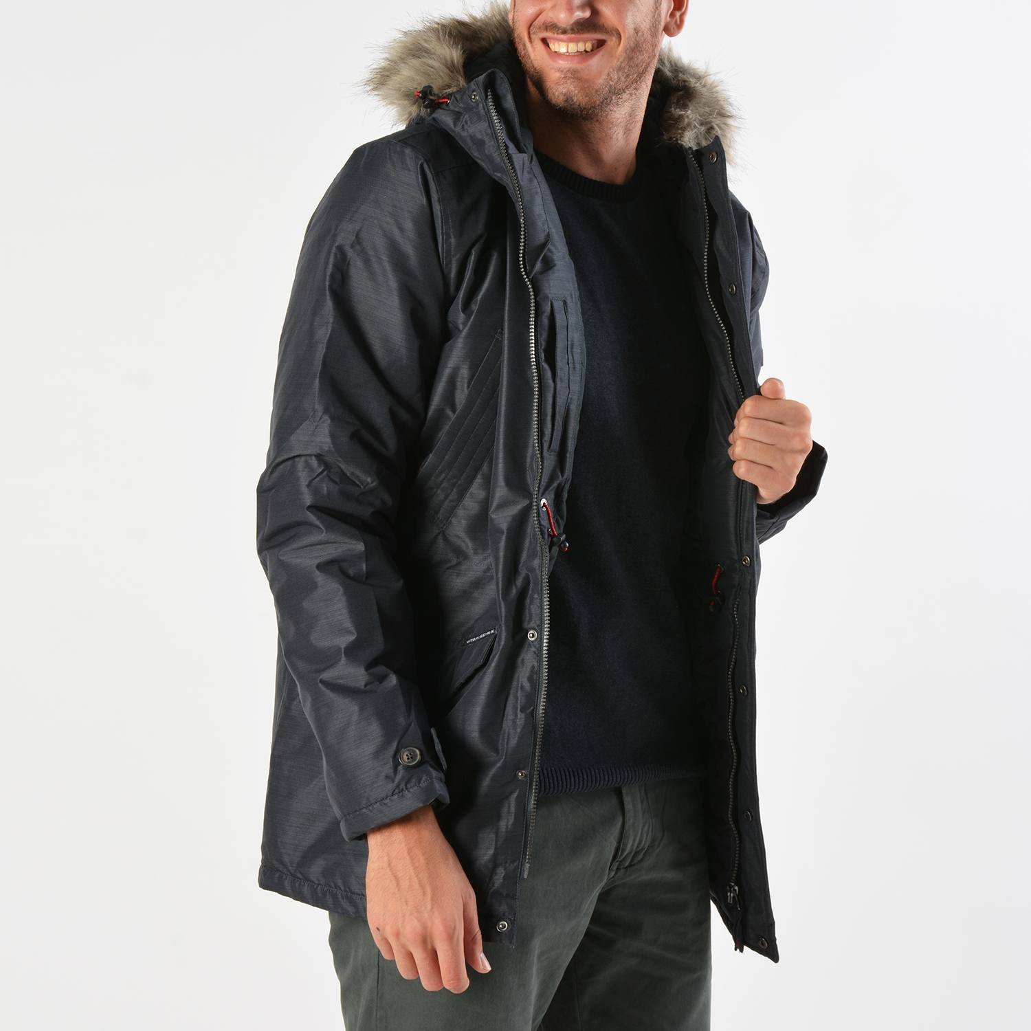 Basehit Men's Ηooded Jacket With Det/ble Fake Fur (9000019109_26689)