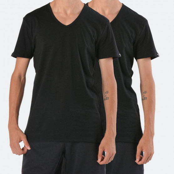 Puma Basic V-Neck Men's Black Tee 2 Per Pack