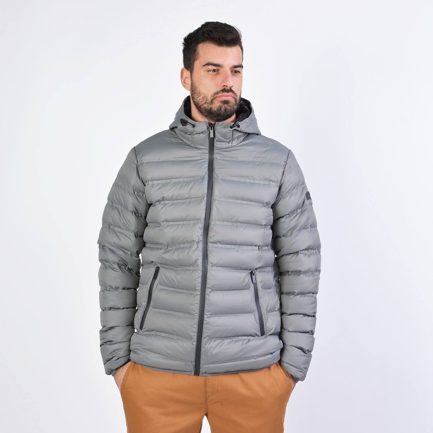 Body Action Quilt Padded Jacket With Hood (9000041223_1890)
