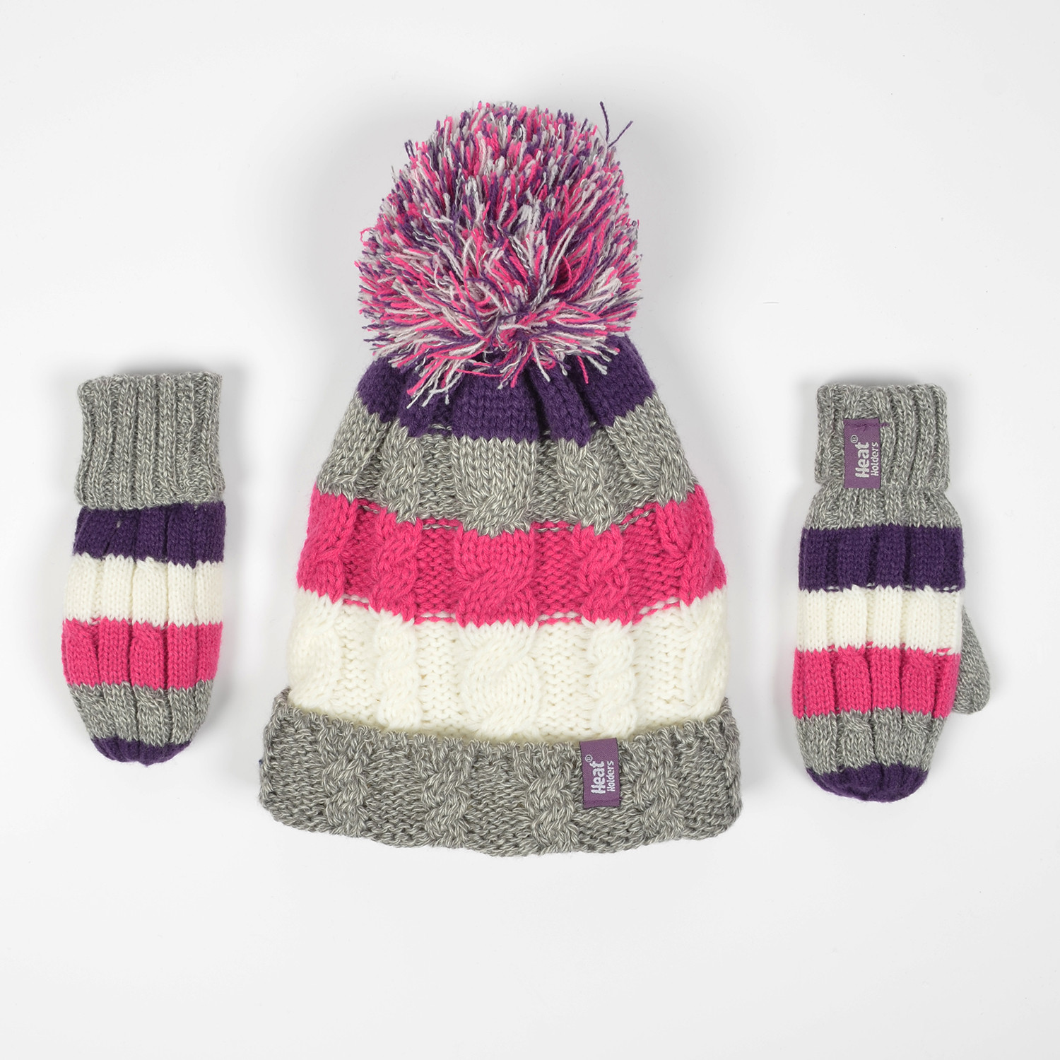Heat Holders Cable Turn Over Hat With Pom Pom & Mittens (9000046665_6756)