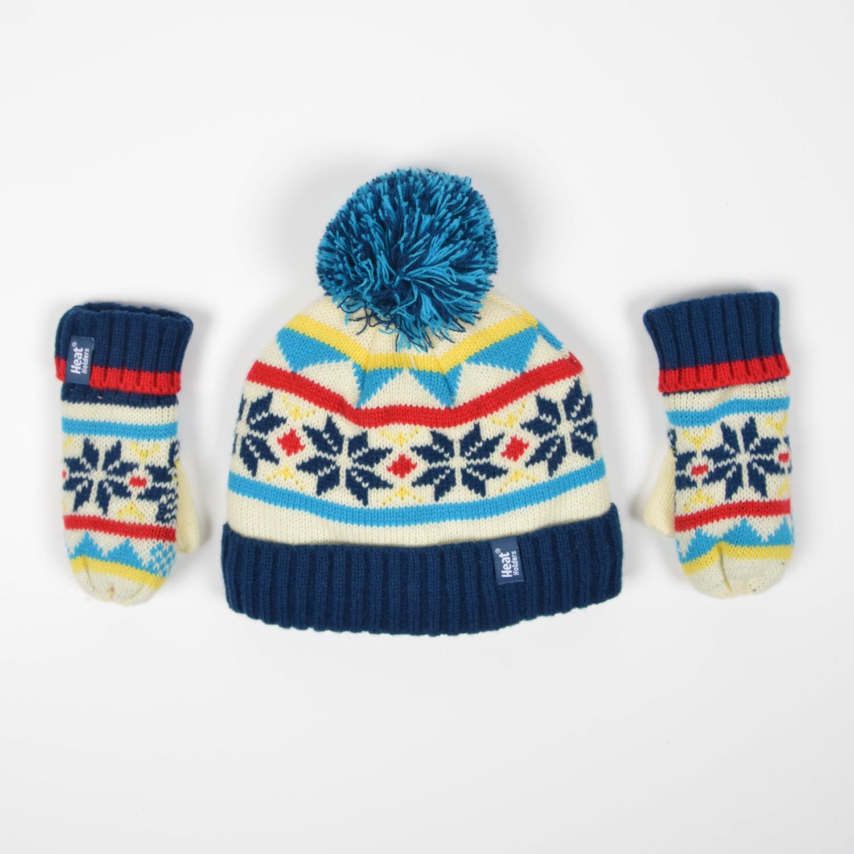 Heat Holders Pixie Kids Hat With Pom Pom & Mittens (9000046718_43876)