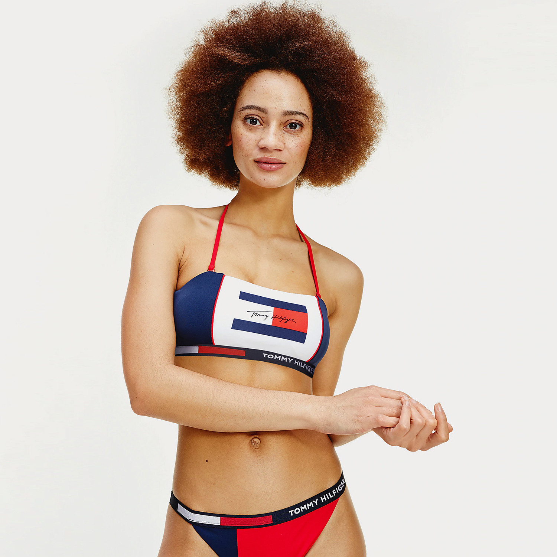 Tommy Jeans Colour-Blocked Signature Bandeau Bikini Top (9000051142_45124)