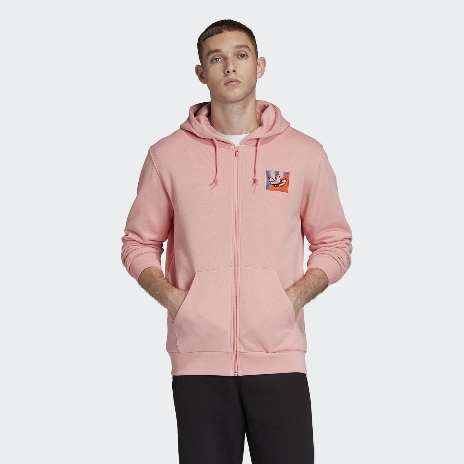 adidas Originals Diagonal Embroidered Men's Full Zip Hoodie (9000045523_39533)