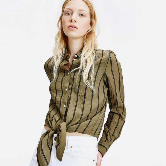 Tommy Jeans Front Knot Flag Patch Women's Shirt
