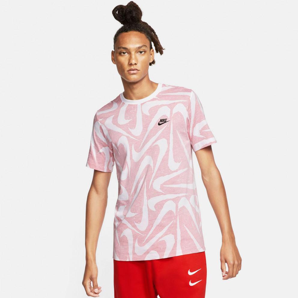 Nike Sportswear Club All Over Print Drawn Ανδρική Κοντομάνικη Μπλούζα