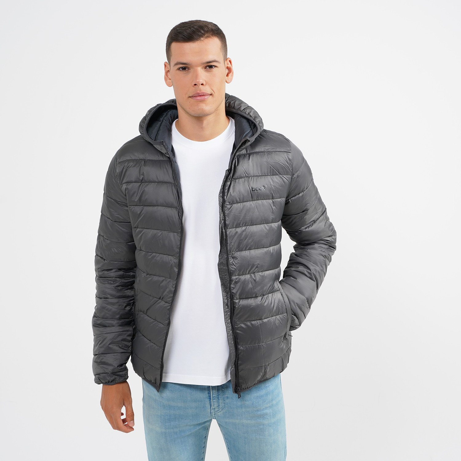 Body Action Men Padded Jacket With Hood (9000064116_6587)