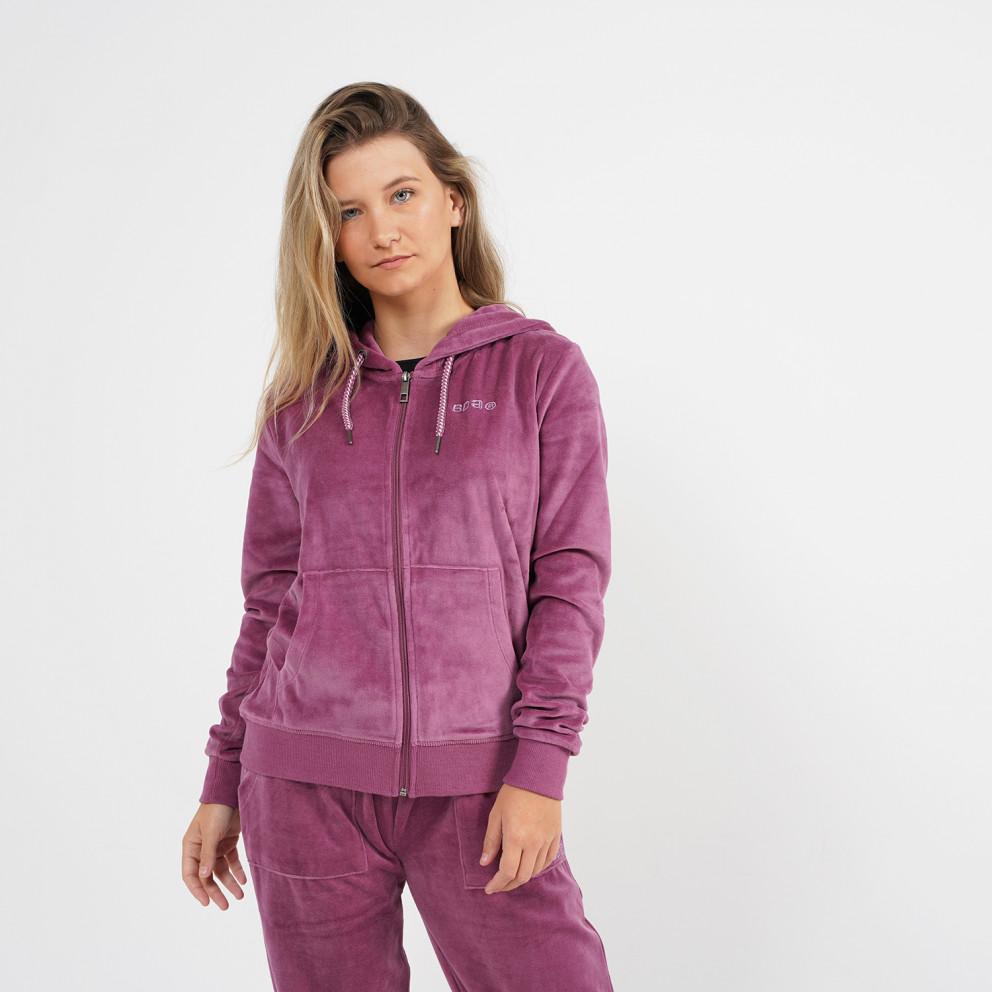 Body Action Women's Velvet Jacket with Hood