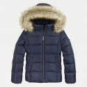 Tommy Jeans Essential Kid's Coat with Faux Fur Hood