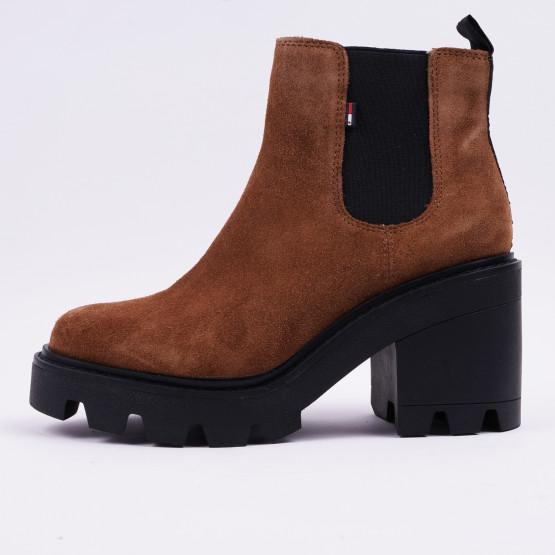 Tommy Jeans Essential Suede Mid Heel Γυναικείες Μπότες