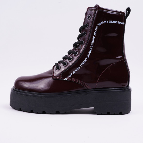 Tommy Jeans Patent Lace Up Boot