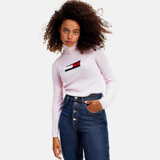 Tommy Flag Roll Neck Women's Sweater