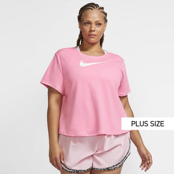 Nike Swoosh Plus Size Γυναικείο T-Shirt για Τρέξιμο