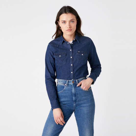 Wrangler Slim Western Shirt Dark Indigo