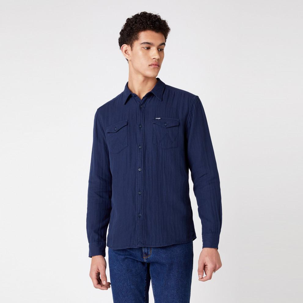 Wrangler Ls 2Pkt Flap Shirt Navy