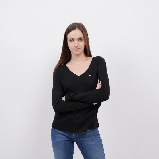 Tommy Jeans Jersey V Neck Women's Long-sleeve Blouse