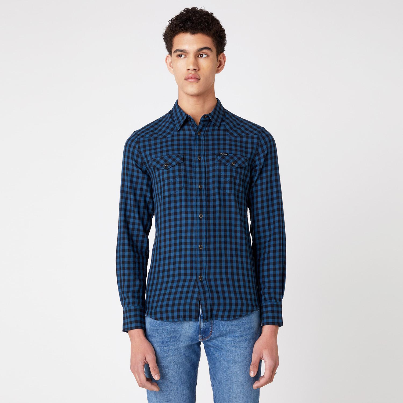 Wrangler Ls Western Shirt Dark Blue Teal (9000066680_49497)