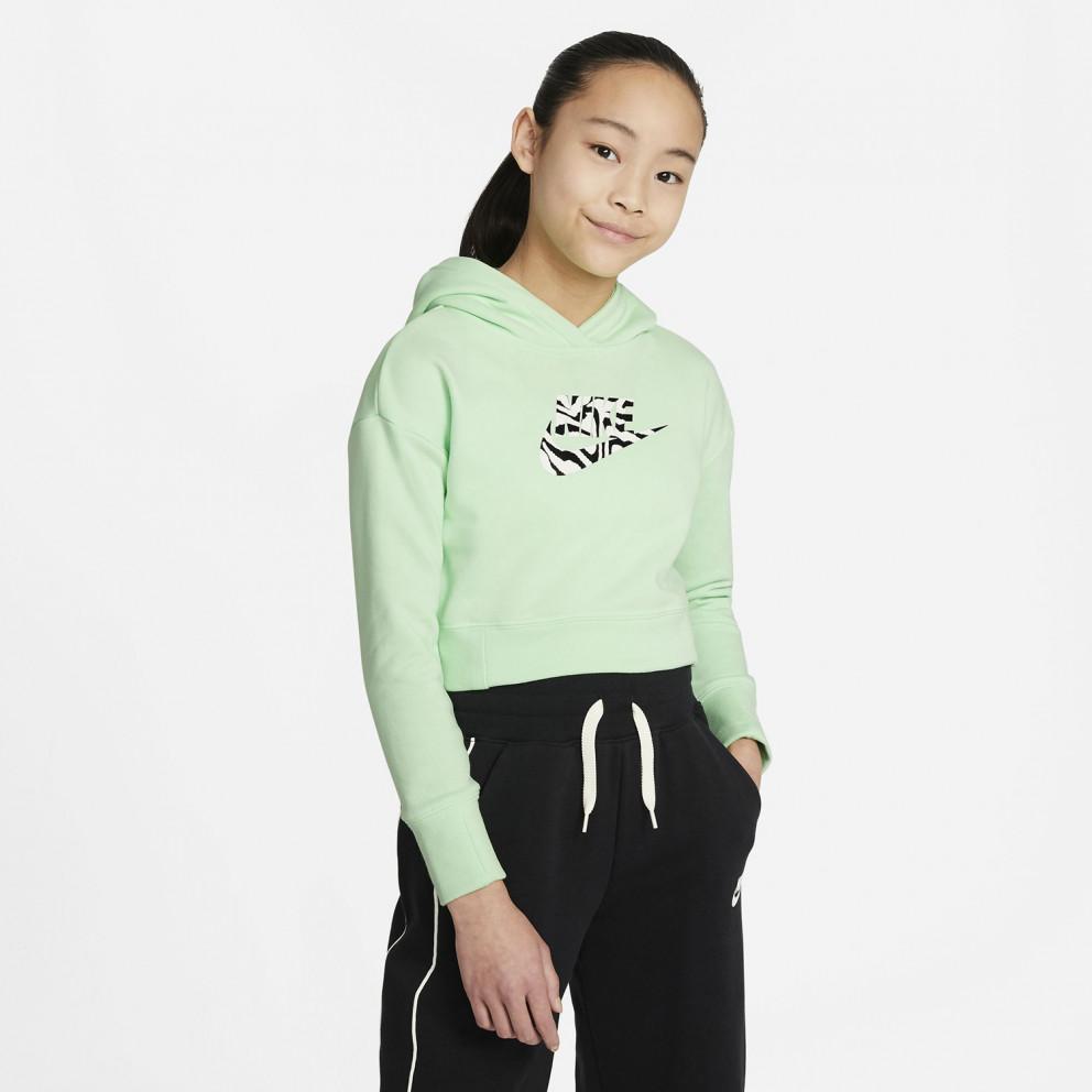 Nike Sportswear Girls' Cropped Παιδική Μπλούζα με Κουκούλα