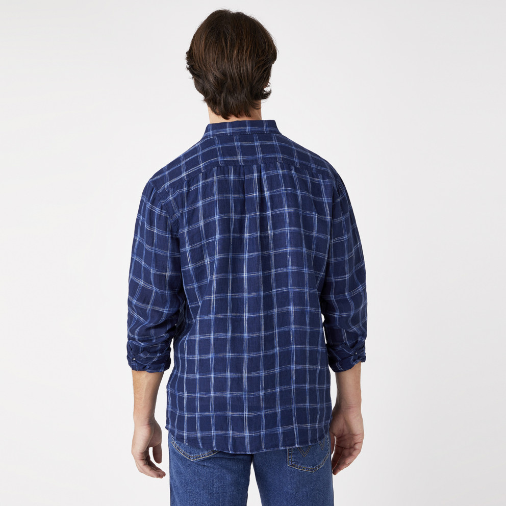 Wrangler One Pocket Shirt In Limoges Blue Men's Shirt