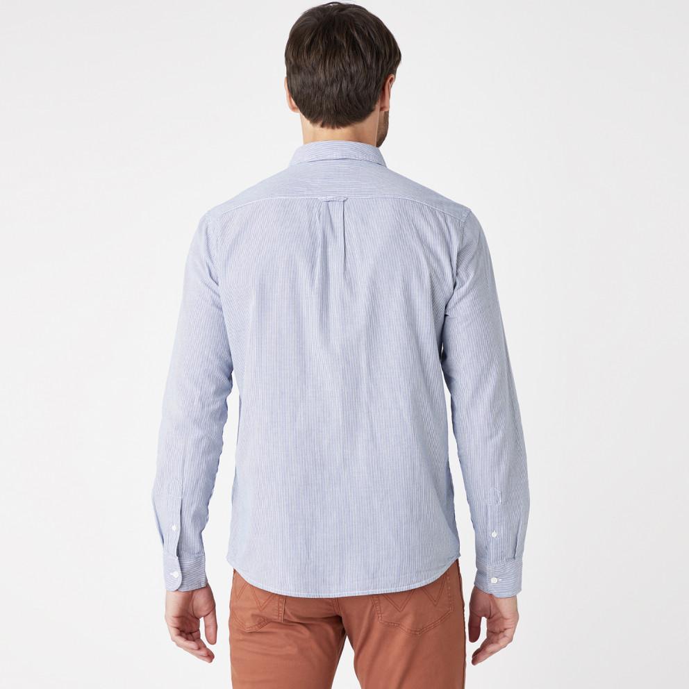 Wrangler One Pocket Shirt In Navy Men's Shirt