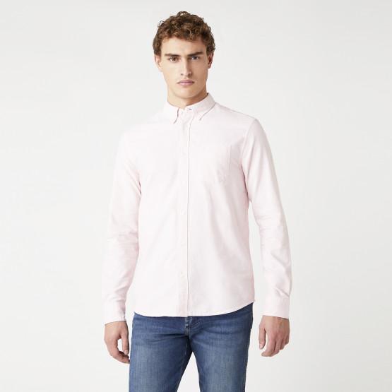 Wrangler Long sleeve 1 Pocket Shirt In Silver Pink Men's Shirt