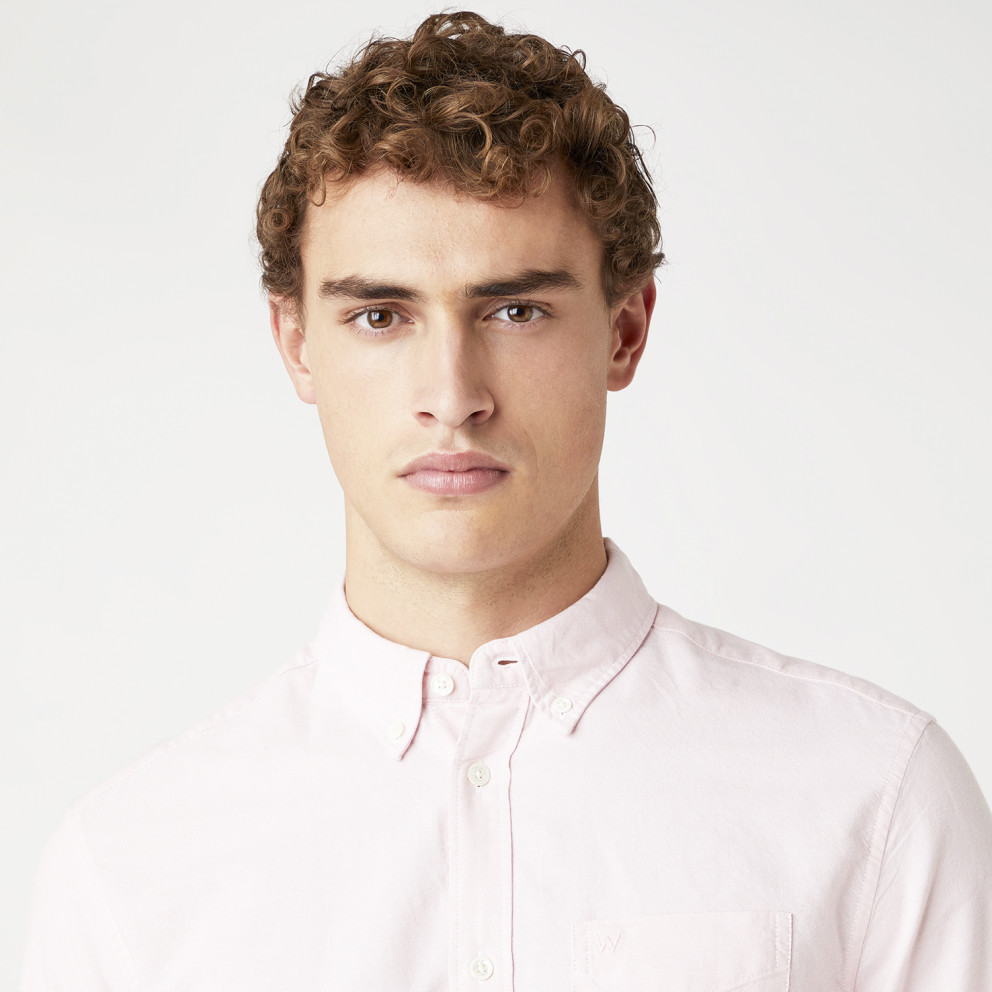 Wrangler Long sleeve 1 Pocket Shirt In Silver Pink Ανδρικό Πουκάμισο