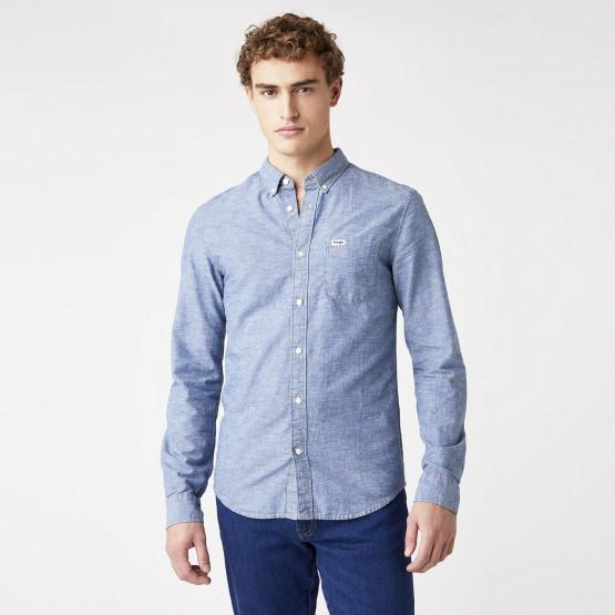 Wrangler One Pocket Button Down Shirt In Mid Indigo Men's Shirt
