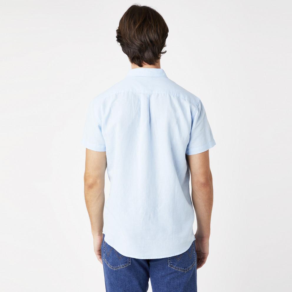 Wrangler One Pocket Shirt In Cerulean Men's Short Sleeves Shirt