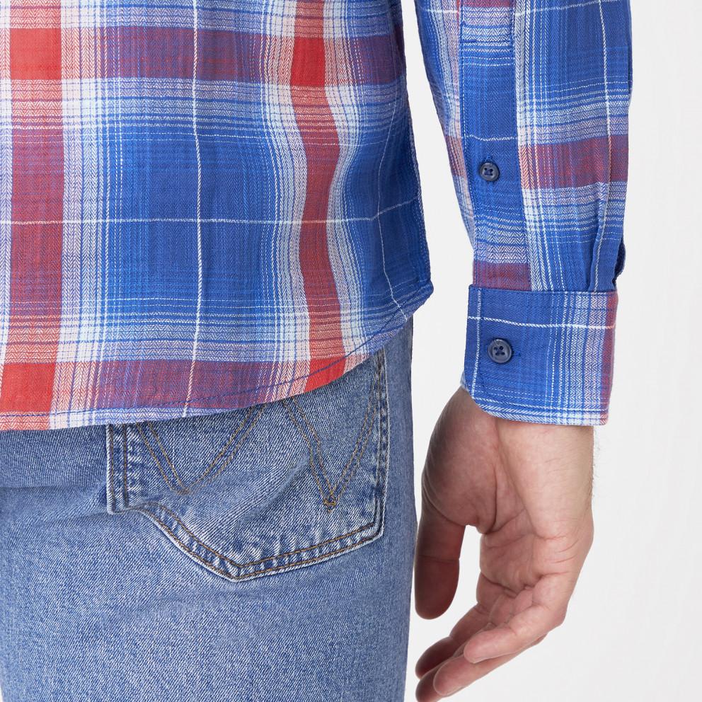 Wrangler One Pocket Shirt In Limoges Blue  Men's Shirt