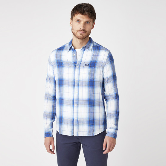 Wrangler One Pocket Shirt In White Ανδρικό Πουκάμισο
