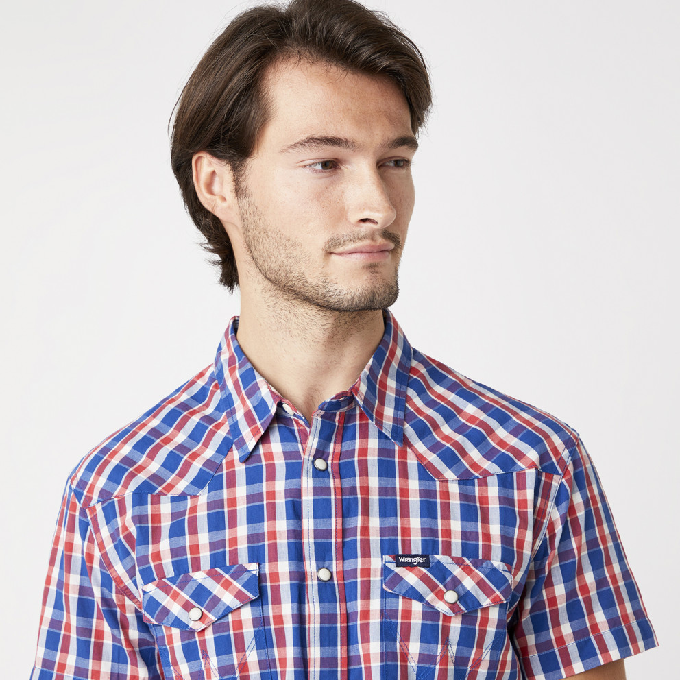 Wrangler Western Shirt In Cerulean Blue Ανδρικό Κοντομάνικο Πουκάμισο