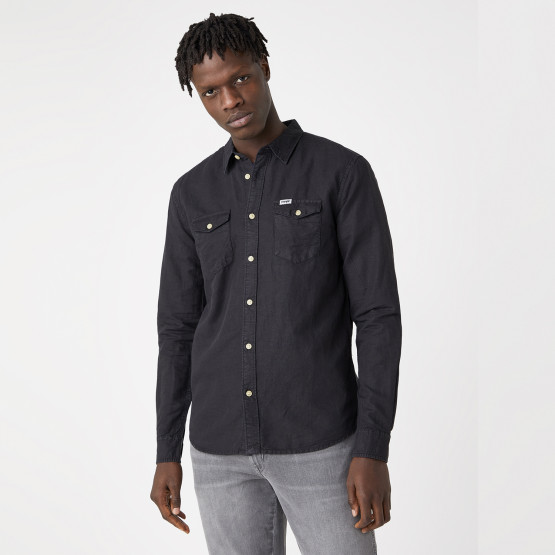 Wrangler Two Pocket Flap Shirt In Faded Black Men's Shirt