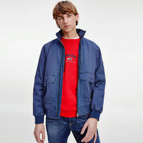 Tommy Jeans Cotton Flag Collar Men's Bomber Jacket
