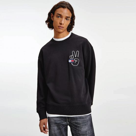 Tommy Jeans Badge Peace Ανδρική Μπλούζα με Κουκούλα