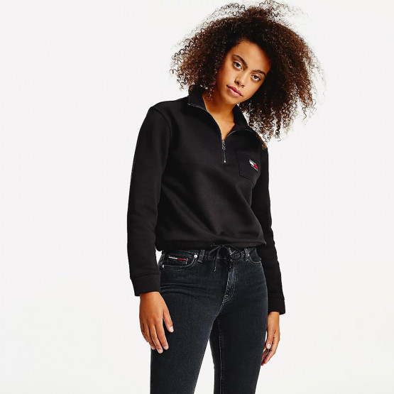 Tommy Jeans Relaxed Badge Quarter Zip Women Cropped Sweatshirt