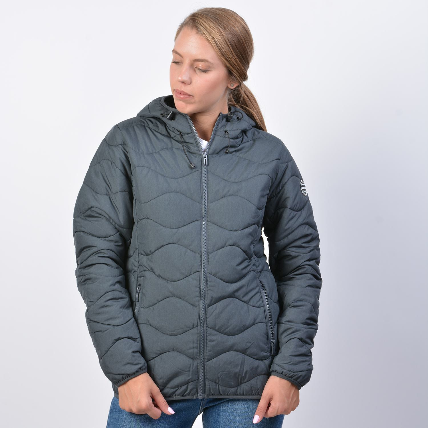Body Action Women Quilt Padded Jacket With Hood (9000041215_1899)